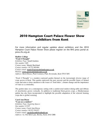 2010 Hampton Court Palace Flower Show exhibitors from Kent
