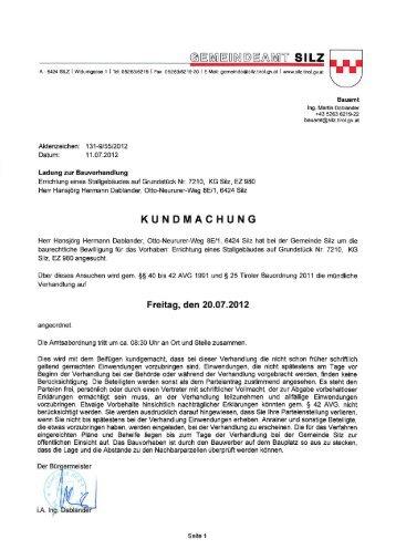 Bauverhandlung Dablander Hansjörg - Gemeinde Silz