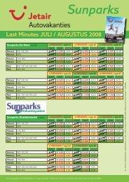 Sunparks Last Minutes JULI / AUGUSTUS 2008 - Jetair