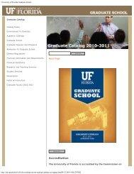 2010-2011 UF Graduate Catalog (PDF Format) - Graduate School ...