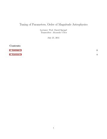 Tuning of Parameters, Order of Magnitude Astrophysics