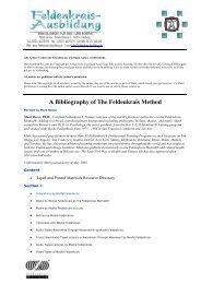 A Bibliography of The Feldenkrais Method - Feldenkrais-Ausbildung
