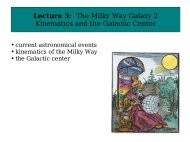 Lecture 3: The Milky Way Galaxy 2 Kinematics and the Galactic Center