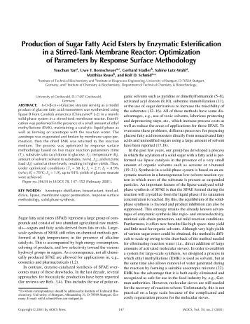Production of Sugar Fatty Acid Esters by Enzymatic