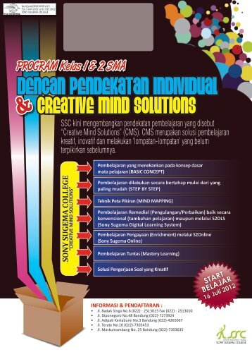 Brosur Program 1 dan 2 SMA 2012/2013 - Sony Sugema College