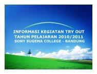 INFORMASI KEGIATAN TRY OUT TAHUN PELAJARAN 2010/2011