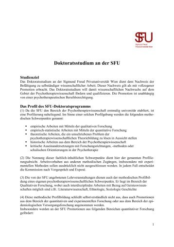 Doktoratsstudium an der SFU