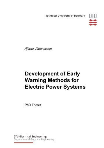 Development of Early Warning Methods for Electric Power Systems