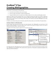 EndNote 9Tips Creating Bibliographies
