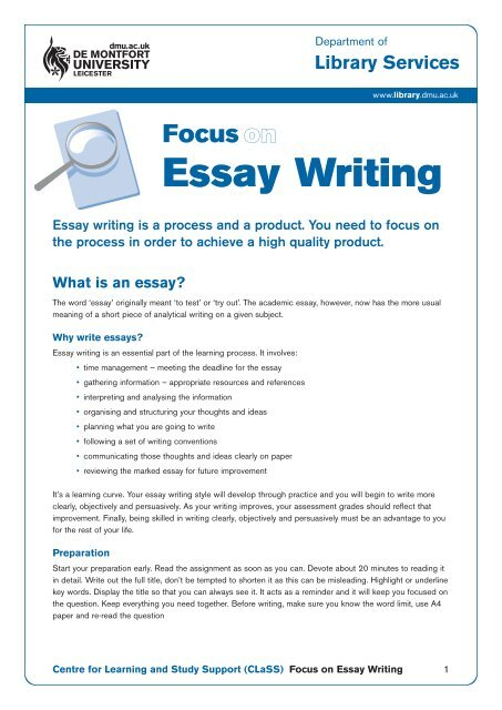 Focus on Essay Writing (PDF) - DMU Library.