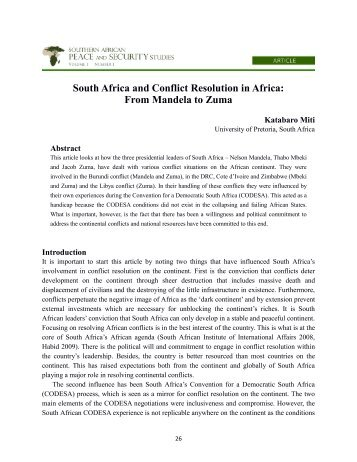 South Africa and Conflict Resolution in Africa: From ... - saccps