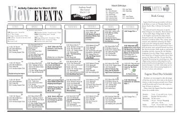 ViewActivity Calendar for March 2012 - Eugene Hotel