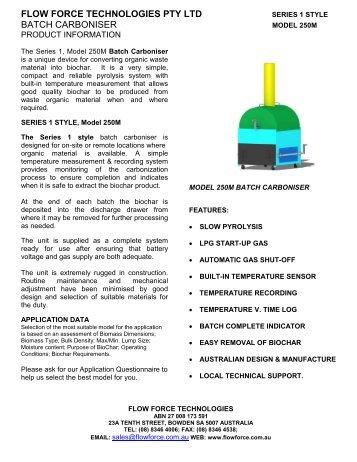 BATCH CARBONISER Series 1, Model 250M Product Brochure Rev…