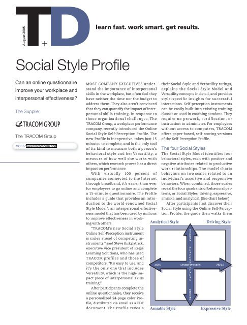 Social Style Profile - The TRACOM Group
