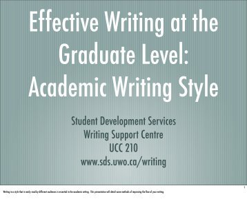 Effective Writing at the Graduate Level: Academic Writing Style