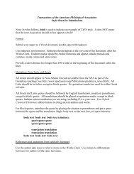 TAPA Style Sheet - American Philological Association