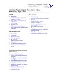 (APA) Referencing Style Guide - UWS Library - University of ...