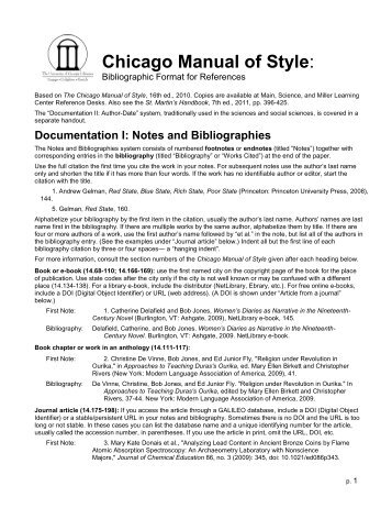 The Chicago Manual of Style Documentary-Note Style