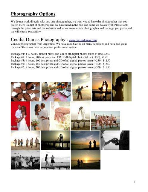 Photographer Pricing 2007-08 - SunHorse Weddings