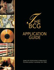 The BCG Application Guide - Board for Certification of Genealogists