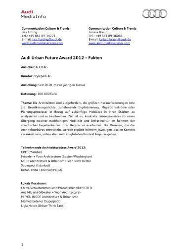 audi urban future award 2012 fakten audi mediaservices - Audi Bewerben