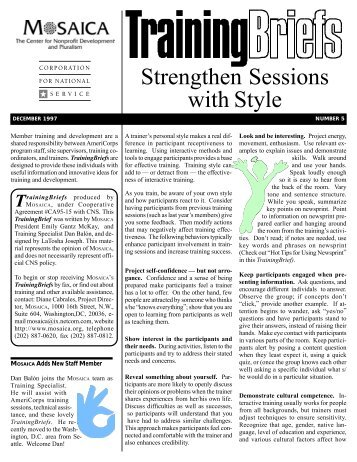Training Briefs: Strengthen Sessions with Style - National Service ...