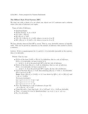 3/24/2011 - Notes prepared by Vanessa Radzimski The Hilbert Style ...