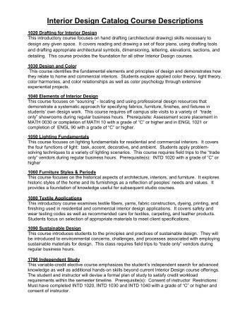 Interior Design Catalog Course Descriptions