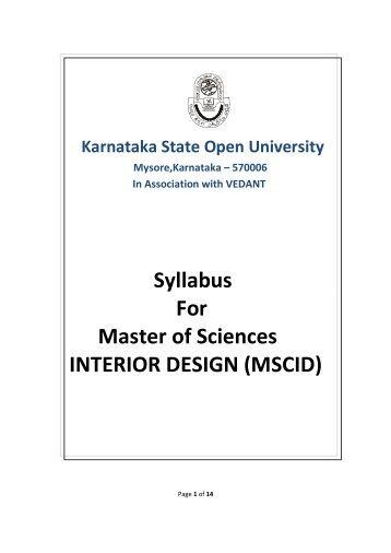 Syllabus For Master of Sciences INTERIOR DESIGN (MSCID) - KSOU