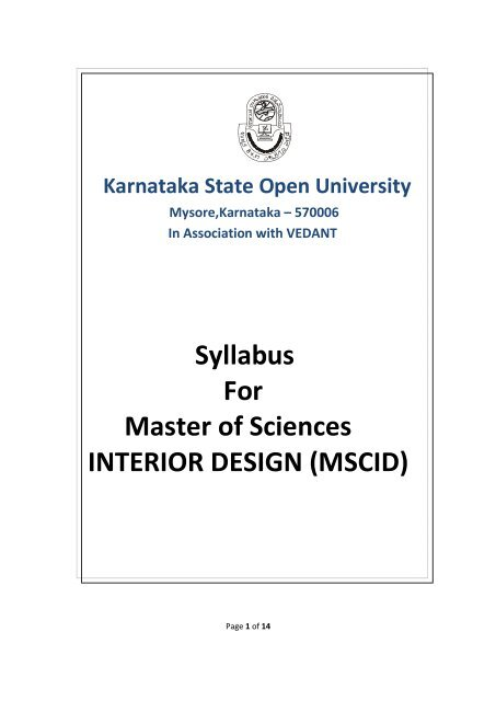 interior design syllabus in india engineering