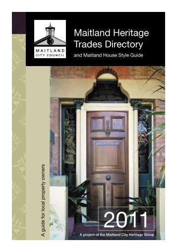 Maitland Heritage Trades Directory - Maitland City Council