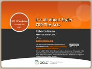It's All About Style: 700 The Arts - OCLC