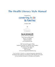 The Health Literacy Style Manual - Covering Kids & Families