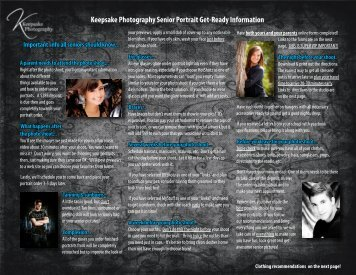 Keepsake Photography Senior Portrait Get-Ready Information