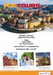 Schweden - Stockholm Quality Hotel Prince Philip ... - First Reisebüro