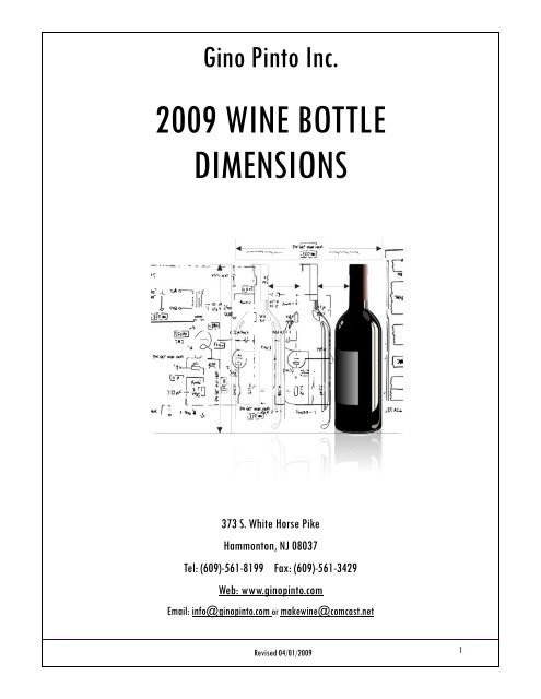 Bottle Dimensions 2009 pub - Gino Pinto Inc
