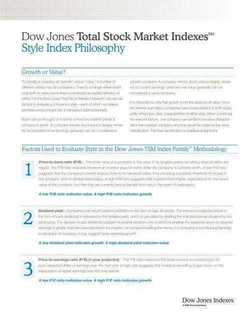 Dow Jones Total Stock Market IndexesSM Style Index Philosophy