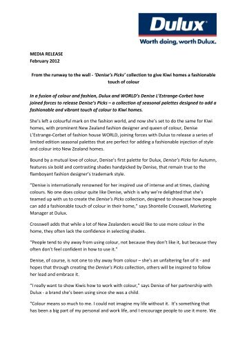 MEDIA RELEASE February 2012 From the runway to the ... - Dulux