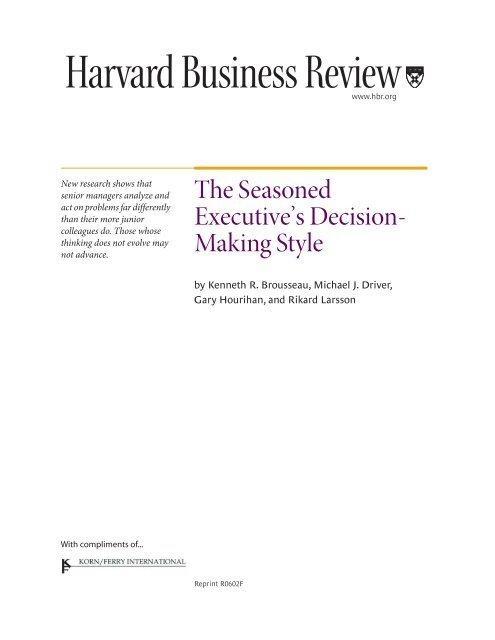 The Seasoned Making Style Executive'sDecision- - Korn/Ferry