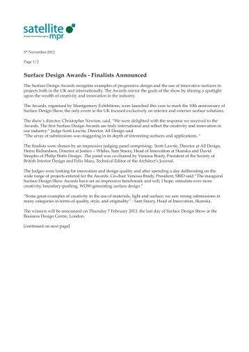 View full press release - Satellite MPR