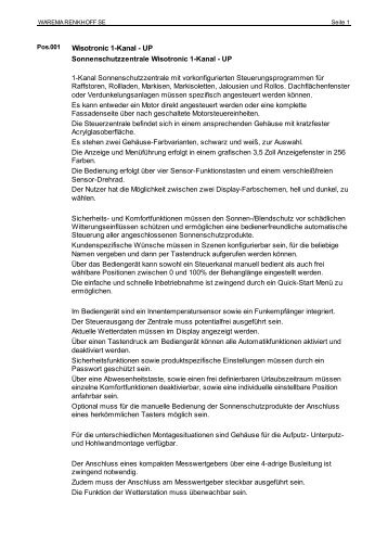 ausschreiben.de - Export - Finkeisen Sonnenschutz: Markisen