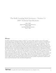 The Kolb Learning Style Inventory—Version 3.1 2005 - Whitewater ...