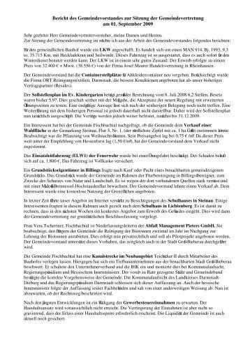 Bericht des Gemeindevorstandes zur Sitzung der ...