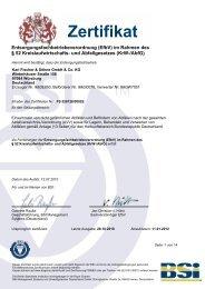 Zertifikat - Fischer & Söhne GmbH & Co. KG