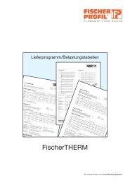 FischerTHERM - Belastungstabellen