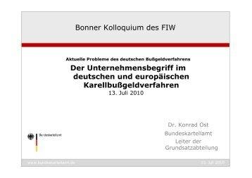 Bonner Kolloquium des FIW Der Unternehmensbegriff im deutschen ...