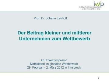 Prof. Dr. Johann Eekhoff