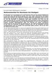 Weltmeistertitel für Rennteam Uni Stuttgart - FKFS