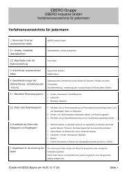 Verfahrensverzeichnis EBERO Industrie GmbH - ebero.de