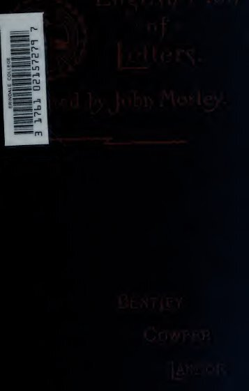English men of letters: Edited by John Morley - Index of